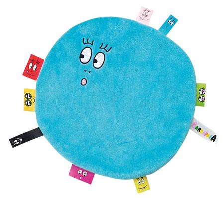 Barbapapa knuffeldoekje met labels baby blauw groot