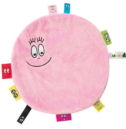 Barbapapa knuffeldoekje met labels baby roze groot