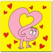 Wenskaart Barbapapa Valentijn hart geel