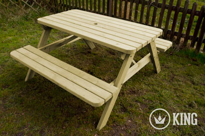 <BIG><B>KING &#174; PICKNICKTAFEL 140 cm / 4cm dikte</B></BIG>