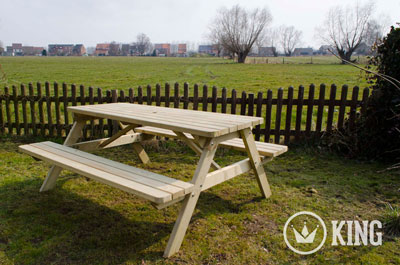 <BIG><B>ROYAL KING &#174; Picknicktafel 200 cm / 4.5 cm dikte</B></BIG>
