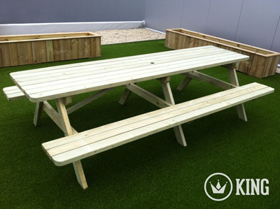 <BIG><B>KING ® PICKNICKTAFEL 300 cm / 4 cm dikte</B></BIG>