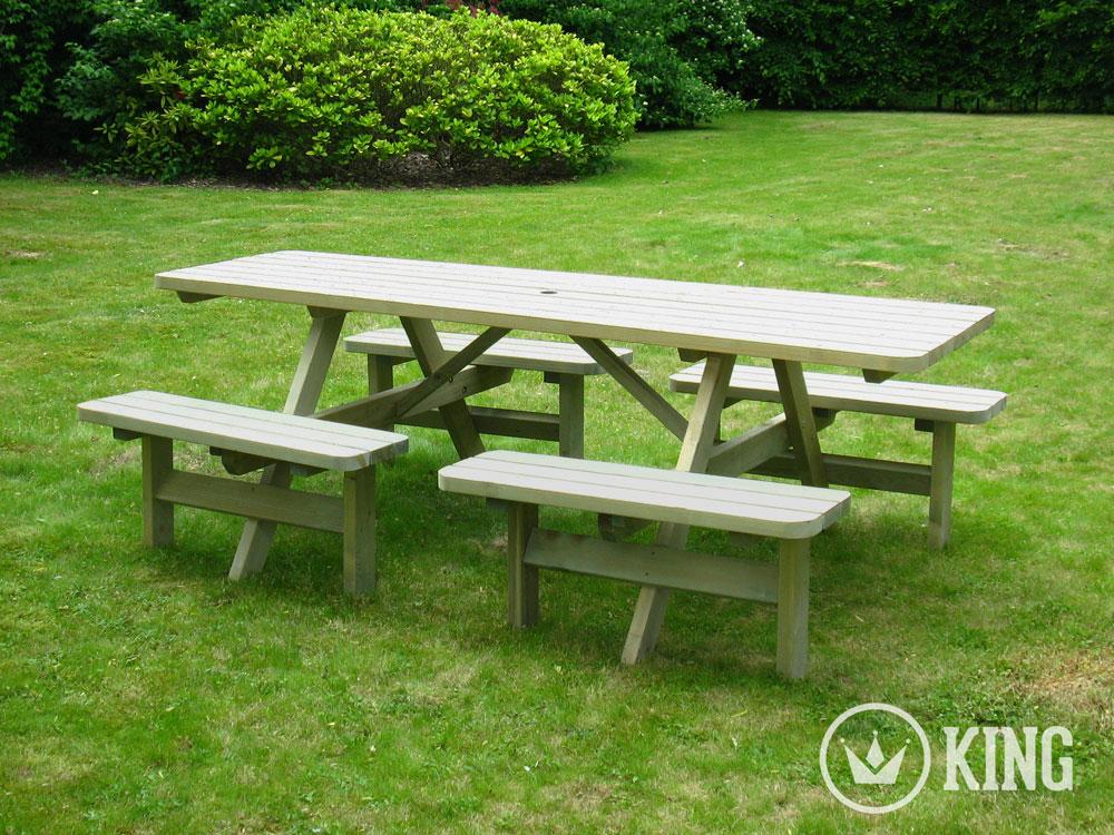 <BIG><B>KING ® Table de pique-nique confort 2.40m / 4 cm d\'épaisseur</B></BIG>