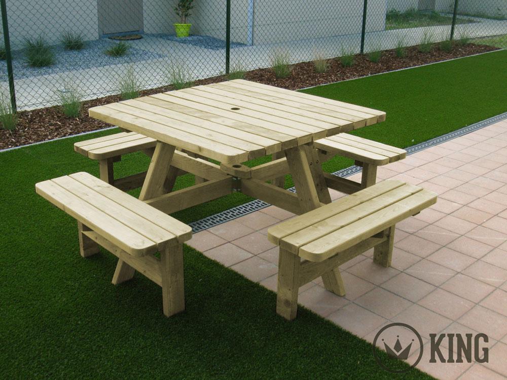 <BIG><B>KING ® Table de pique-nique carrée 115cm x 115cm / 4cm d\'épaisseur</B></BIG>