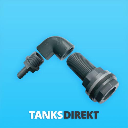 PVC Tankanschluss gewinkelt 90° für Schlauch 13 mm