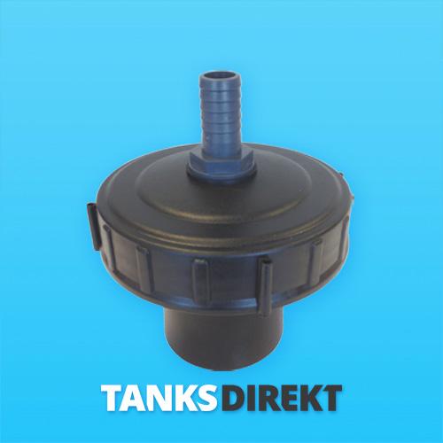 Deckel schwarz 15 cm Innengewinde mit Schwimmerventil 1 Zoll - 25 mm Schlauchanschluss