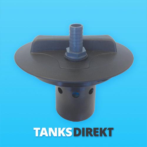 Deckel schwarz 20 cm Außengewinde mit Schwimmerventil 1 Zoll - 25 mm Schlauchanschluss