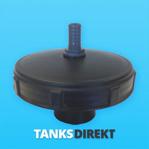 Deckel schwarz 20 cm Innengewinde mit Schwimmerventil 1 Zoll - 25 mm Schlauchanschluss