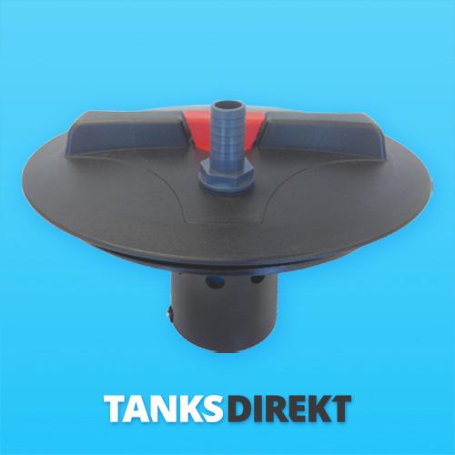 Deckel schwarz 30 cm Außengewinde mit Schwimmerventil 1 Zoll - 25 mm Schlauchanschluss