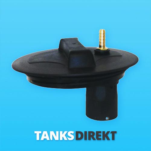 Deckel schwarz 20 cm Außengewinde mit Schwimmerventil 1/2 Zoll - 13 mm Schlauchanschluss