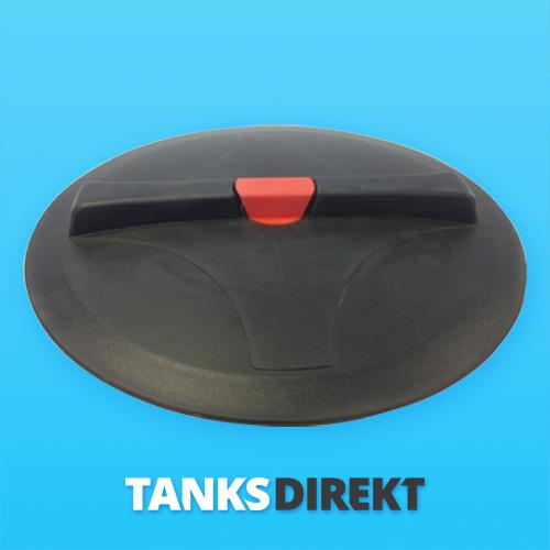 Deckel schwarz 20 cm Außengewinde mit Entlüftung