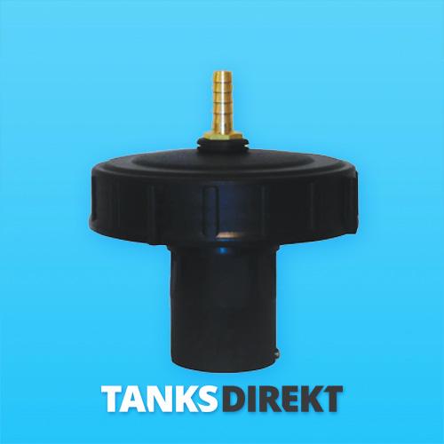 Deckel schwarz 15 cm Innengewinde mit Schwimmerventil 1/2 Zoll - 13 mm Schlauchanschluss