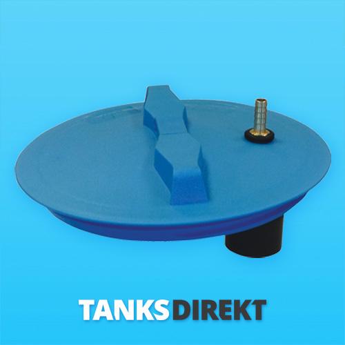 Deckel blau 30 cm Außengewinde mit Schwimmerventil 1/2 Zoll - 13 mm Schlauchanschluss