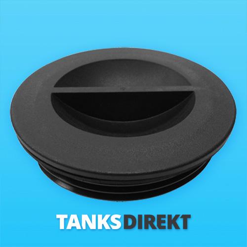Deckel schwarz 12 cm Außengewinde ohne Entlüftung