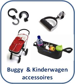 Buggy & Kinderwagen accessoires: Voetenzakken * Tashaken * Buggytas * Zonnescherm en meer
