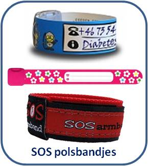 SOS polsbandjes * Naambandjes voor kinderen * ID-armbandjes * Infoband