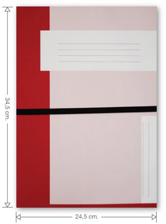 Trias dossiermap met elastiek, rood