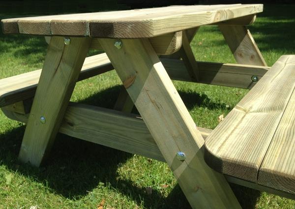 Kinder Picknick Tafel : Houten picknick tafel rond kinderpicknicktafel rond naturel