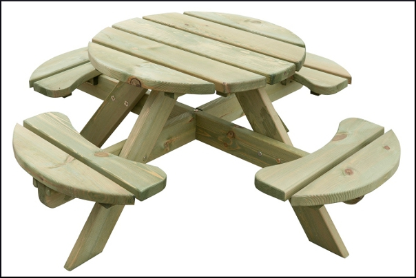 Picknicktafel Kinderen Little Tikes.Kinderpicknicktafel Rond Naturel