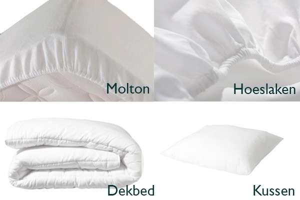 <BIG><B>BEDTEXTIEL PAKKET 4 in 1 WIT (70x150cm)</B></BIG><li>Hoofdkussen</li><li>Dekbed</li><li>Molton</li><li>Hoeslaken</li><br />