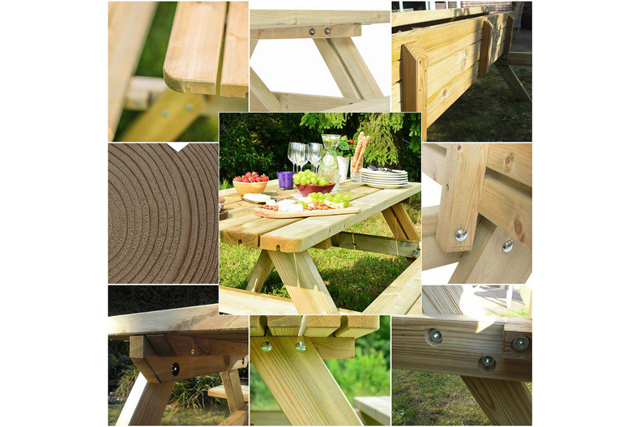 <BIG><B>PICKNICKTAFEL MASSIEF GRENEN  SIX STACK</B></BIG>
