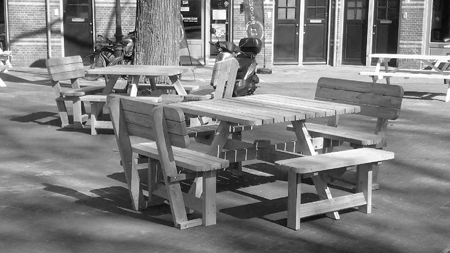 Picknicktafel Vierkant met rugleuning