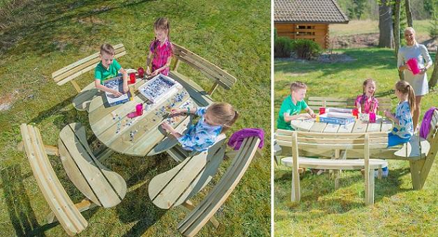 <BIG><B>PICKNICKTAFEL RUGLEUNING ROND 120CM</BIG></B> (Ergonomisch genieten + speciaal ontwikkeld voor onze picknicktafel)