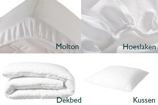 <h4>BEDTEXTIEL BASIS PAKKET 4 in 1 WIT (70x150cm)</h4><p>(+Hoofdkussen + Dekbed + Molton + Hoeslaken)</p>