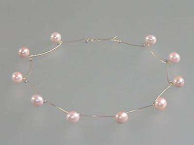 Roze parels-collier Perzik