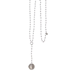 Rosary Long dandelion grey necklace