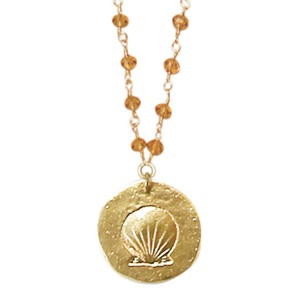 Rosary Shell orange necklace