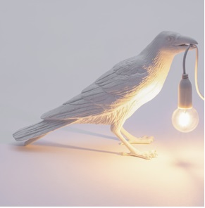 Bird lamp waiting white