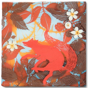 Storytiles Fox in berry bush *