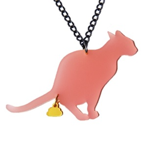 GoldenTurd Cat Necklace pink