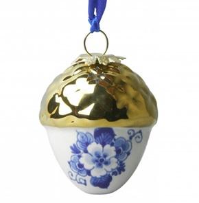Delft Blue Pendant Acorn gold