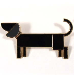 Brooch Dog black