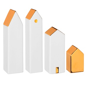 Cottages gold set of 4