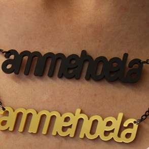 Word Necklace Ammehoela black
