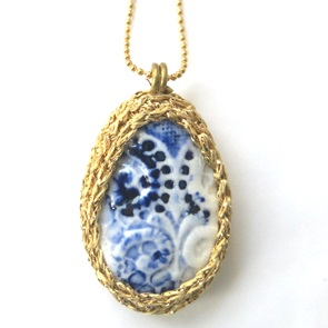 Necklace delftsblue and gold