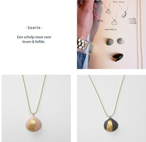 Necklace Sealife shell grey