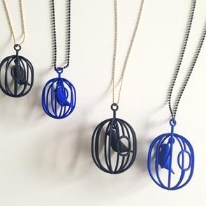 Necklace Happy Bird blue M
