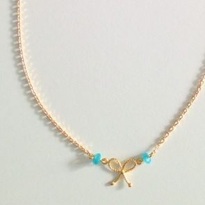Necklace bow Aqua