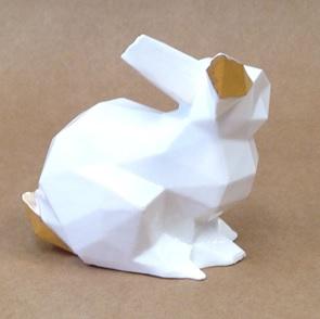 Porcelain bunny wit/goud