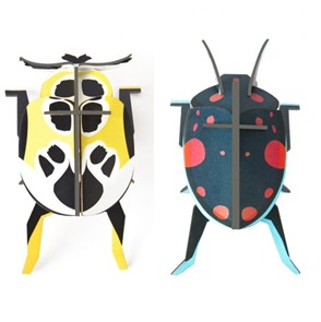 Lady beetles set 3d