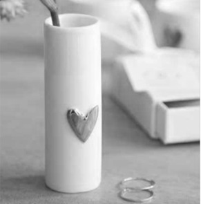 2 Love vases silver