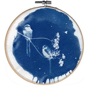 VERKOCHT Blue bird 2 L Kunstwerkje