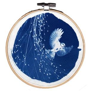 VERKOCHT Blue bird 8 M Kunstwerkje