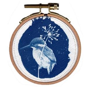 VERKOCHT Blue bird 4 S Kunstwerkje
