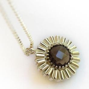 Necklace silver smoky quartz