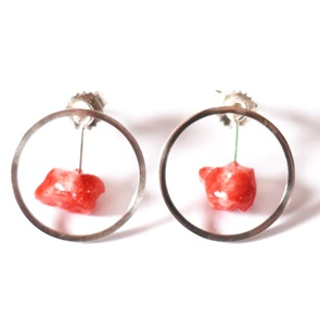 Candy Gem earrings silver red
